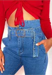High Waisted Paperbag Denim Jeans