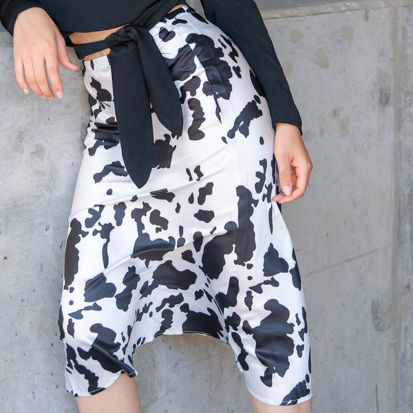 Cow Print Silk Midi Skirt