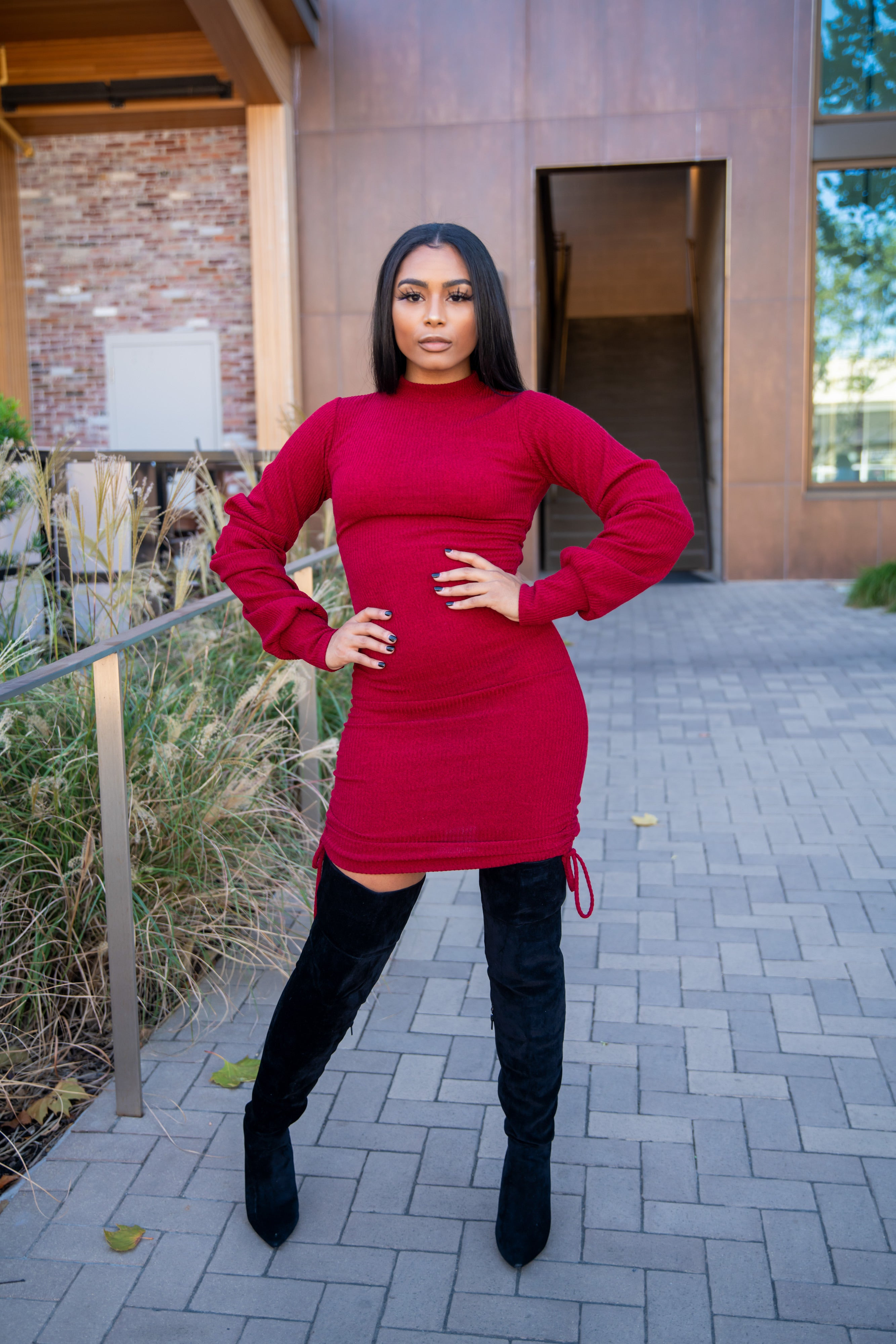 Red Ruched Sweater Dress