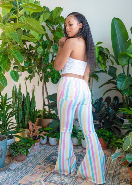 Pastel Striped Bell Bottom Jeans