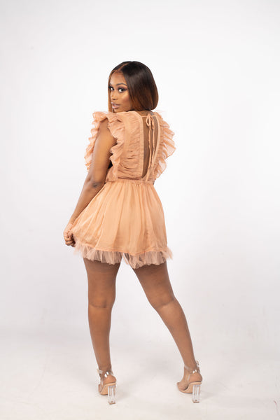 Peach Blossom V-Neck Ruffle Dress