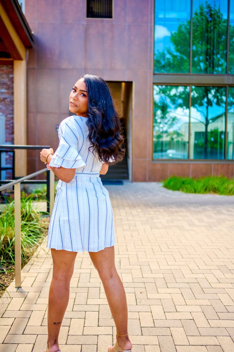 White/Blue Striped Ruffle Sleeve Dress