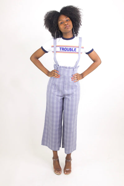 Blue plaid Culotte Overalls