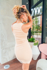 Nude Racer Back Mini Dress