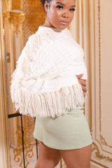 White Fringe Cropped Sweater