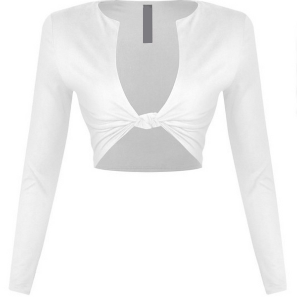White knot crop top