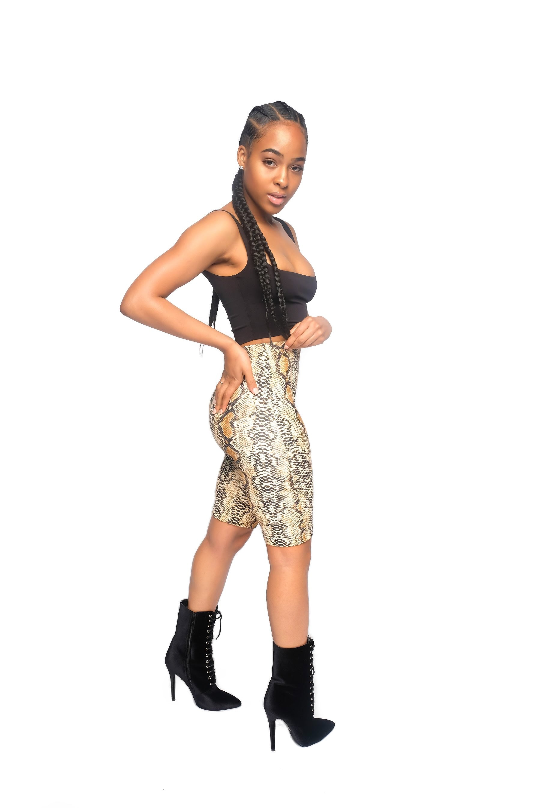 Brown snakeskin biker shorts
