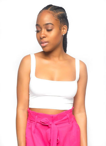 White Square Neck Crop Top