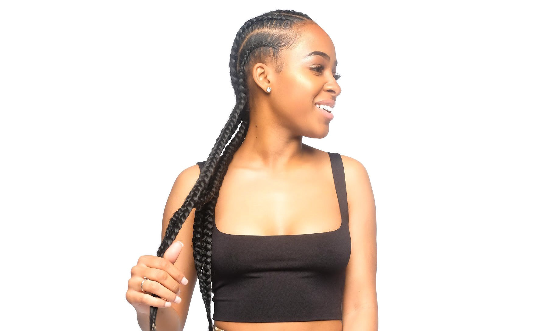 Black Square Neck Crop Top