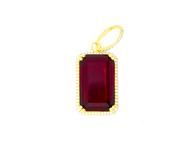 Micro Emerald Cut Red Ruby Pendant in Yellow Gold