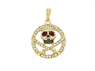 Micro Round Skull and Swords with Red Eyes Round Pendant