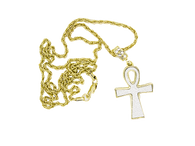 Micro Gold Unk Cross with White Diamond Cut Stardust Ice