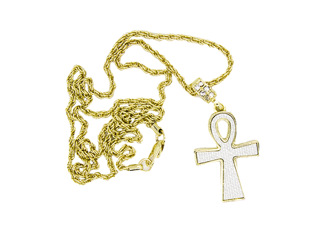 Micro Gold Unk Cross With White Diamond Cut Stardust Ice The