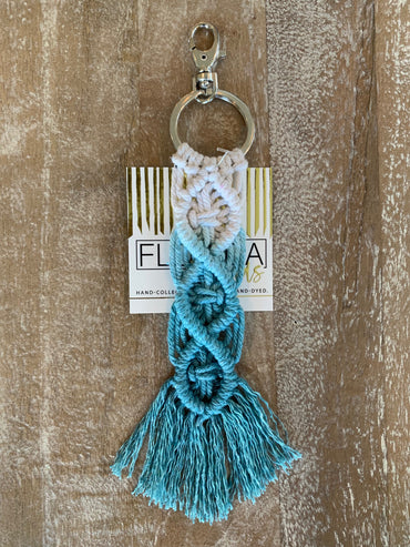Macramé Key Chain - Aqua and White
