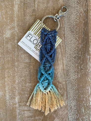 Macramé Key Chain - Navy, Aqua and Canary Yellow