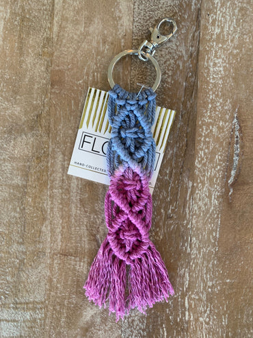 Macramé Key Chain - Indigo and Fuchsia