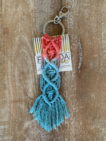 Macramé Key Chain - Coral and Aqua
