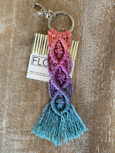 Macramé Key Chain - Coral, Fuchsia and Teal