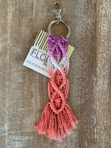 Macramé Key Chain - Fuchsia, White and Coral