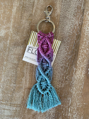 Macramé Key Chain - Purple and Aqua