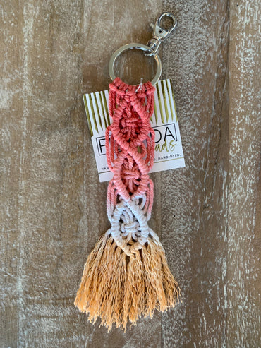 Macramé Key Chain - Coral, Sand and Sunshine