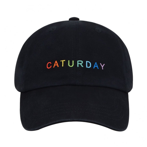 Caturday Rainbow Embroidered Hat