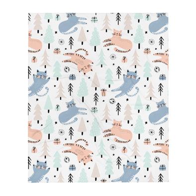 Cats & Pine Trees Throw Blanket