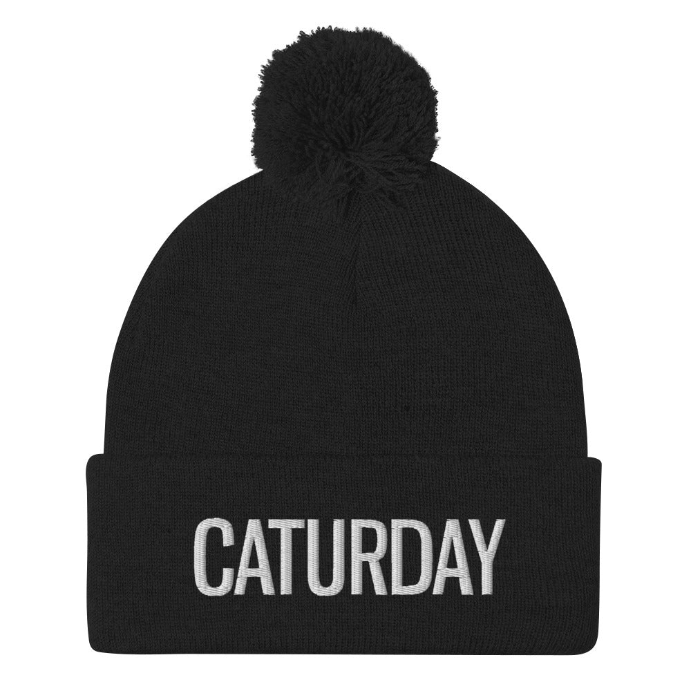 Embroidered Caturday Pom-Pom Beanie