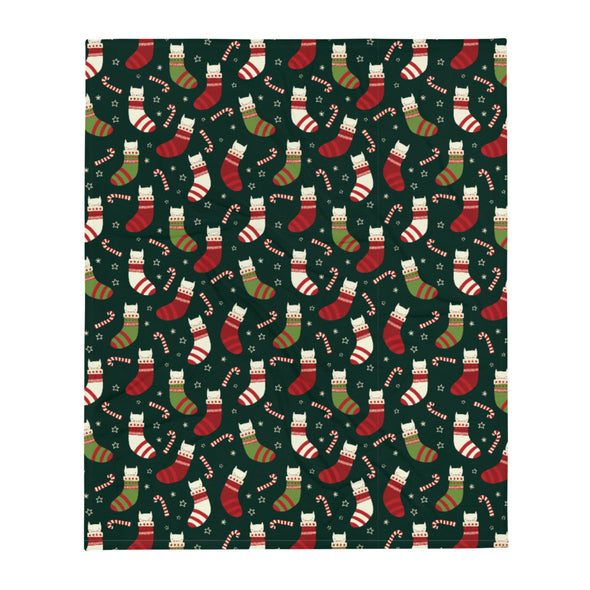Cats & Socks Holiday Throw Blanket