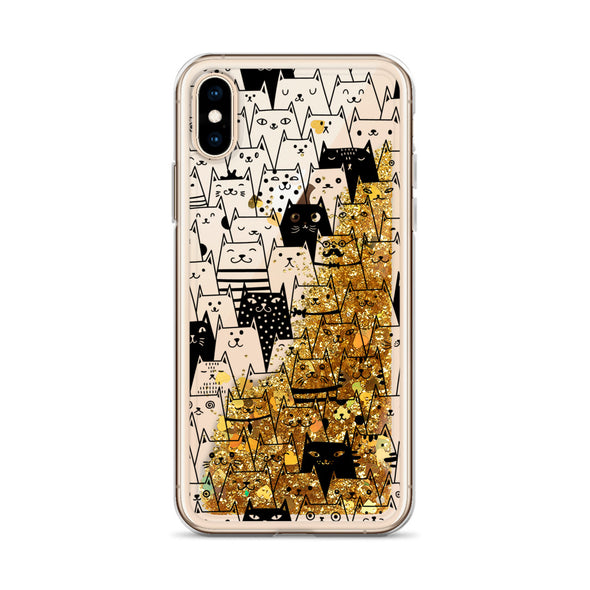 BW Cats w/ Liquid Glitter Phone Case