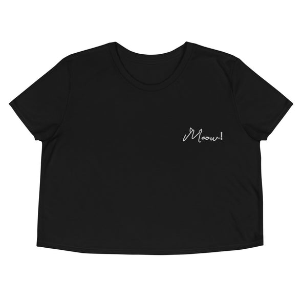Meow! Embroidered Super Soft Crop Tee
