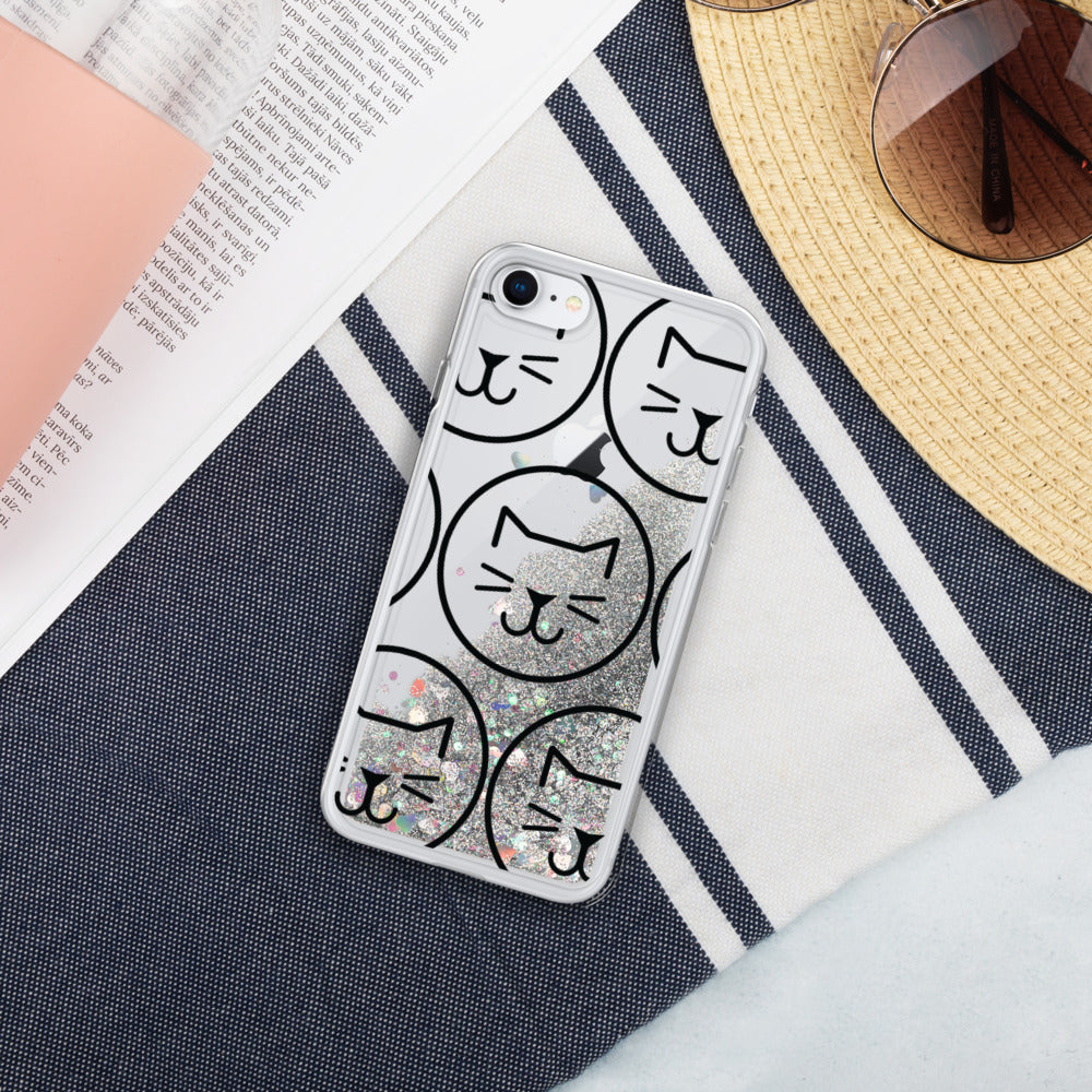 Iphone Cat Icon Liquid Glitter Phone Case