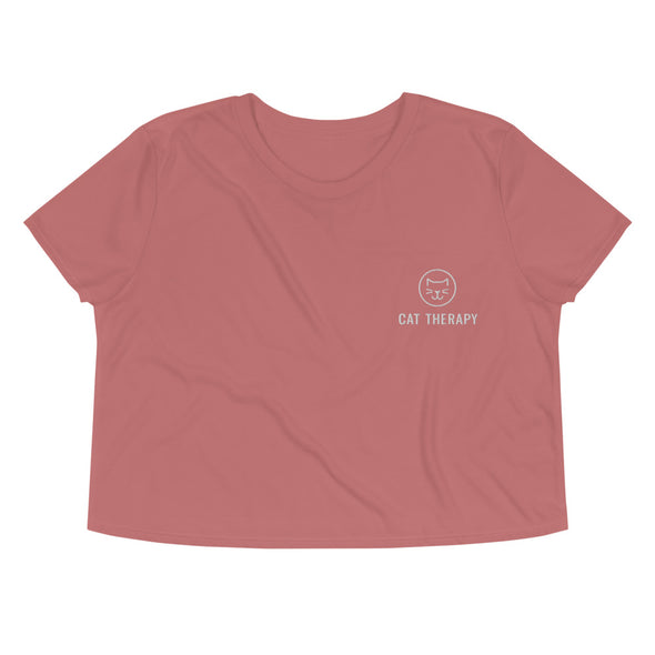Cat Therapy Embroidered Crop Tee