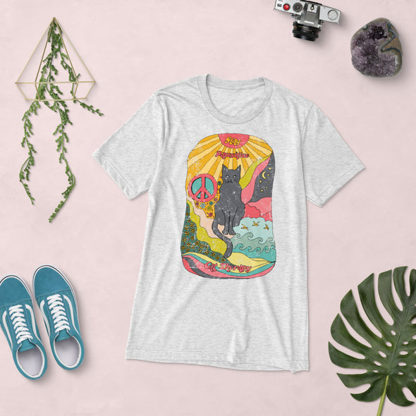 Stay Pawsitive Psychedelic Hand Drawing Super Soft Tee