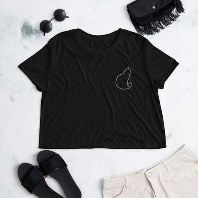 Cat Shape Embroidered Crop Tee