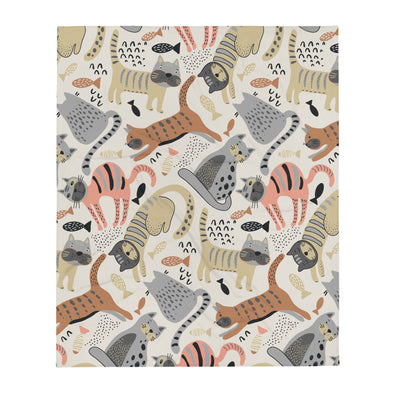 Cats & Fish Throw Blanket