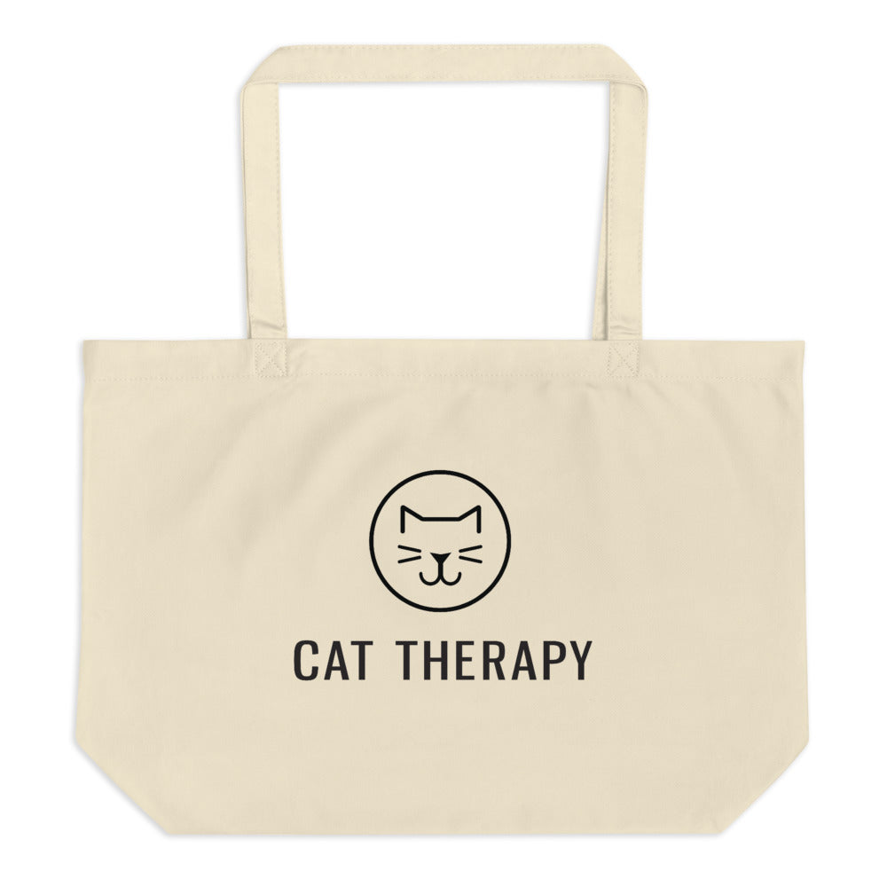 Cat Therapy Large Organic Tote Bag
