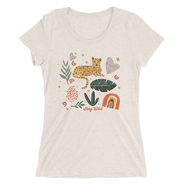 Stay Wild Leopard Graphic Women's Fit Tee