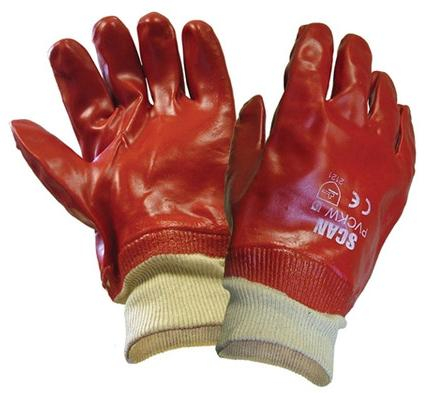 Gloves Red PVC Knitted Wrist S.9 - GRRPKE