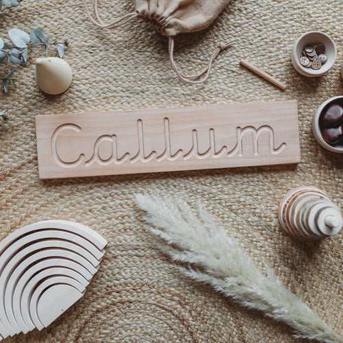 Pre-Cursive Wooden Name Board - Montessori Learning Resource