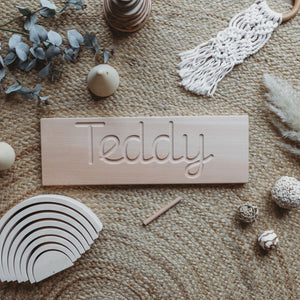 Cursive Wooden Name Board - Montessori Learning Resource