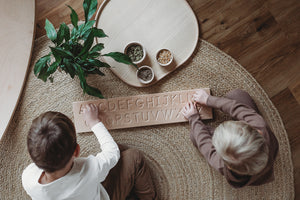 Wooden Double Sided Cursive Alphabet Board - Montessori Learning Resource
