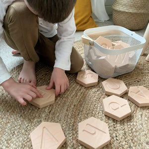 Wooden Alphabet Tiles - Montessori Learning Resource