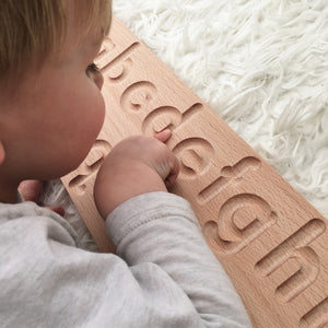 Wooden Alphabet Tracing Board - Montessori Learning Resource