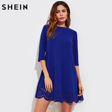 Load image into Gallery viewer, SHEIN Scallop Laser Cut Hem Swing Dress Royal Blue Three Quarter Length Sleeve Zipper Back Casual Straight Dress - Stuff Mart Canada