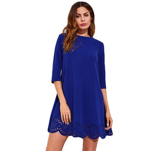 SHEIN Scallop Laser Cut Hem Swing Dress Royal Blue Three Quarter Length Sleeve Zipper Back Casual Straight Dress - Stuff Mart Canada