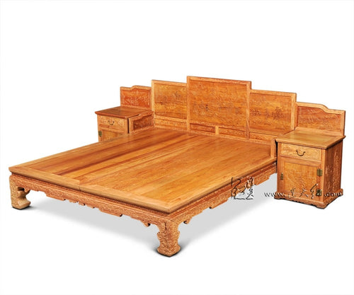 1.9*2.1m King Full Bed Frames Storage Beds with side cabinet bedroom furniture Chinese Retro bedstead factory can be customized