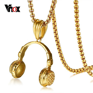 "Vnox Rock Punk Headset Necklace for Men Gold Color Stainless Steel Music Carnival Headphones Pendant Jewelry Free Chain 24"" - Stuff Mart Canada"