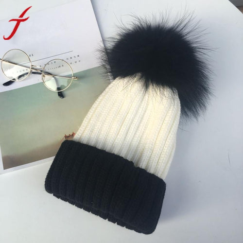 Winter Hat Feitong Women Men Warm Knit Wool Crochet Ball Cap Beanie Baggy Ski Hat Fashion 2 Colors Patchwork Poms Beanies