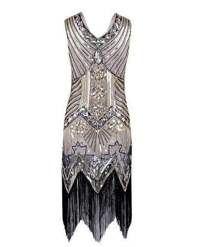 Selegere 50pcs/lot Women 1920s Gastby Sequin Art Nouveau Embellished Fringed Flapper Dress
